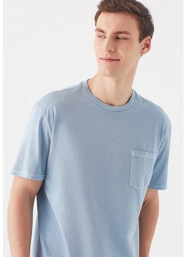 Mavi Cepli Basic Tişört Mavi
